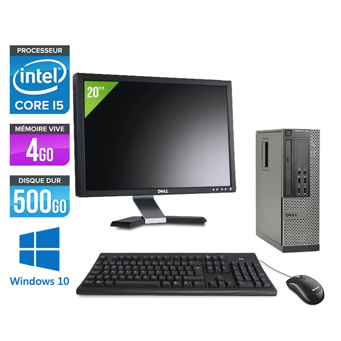 Dell Optiplex 7010 SFF + Ecran 20'' - i5 - 4Go - 500Go - Windows 10