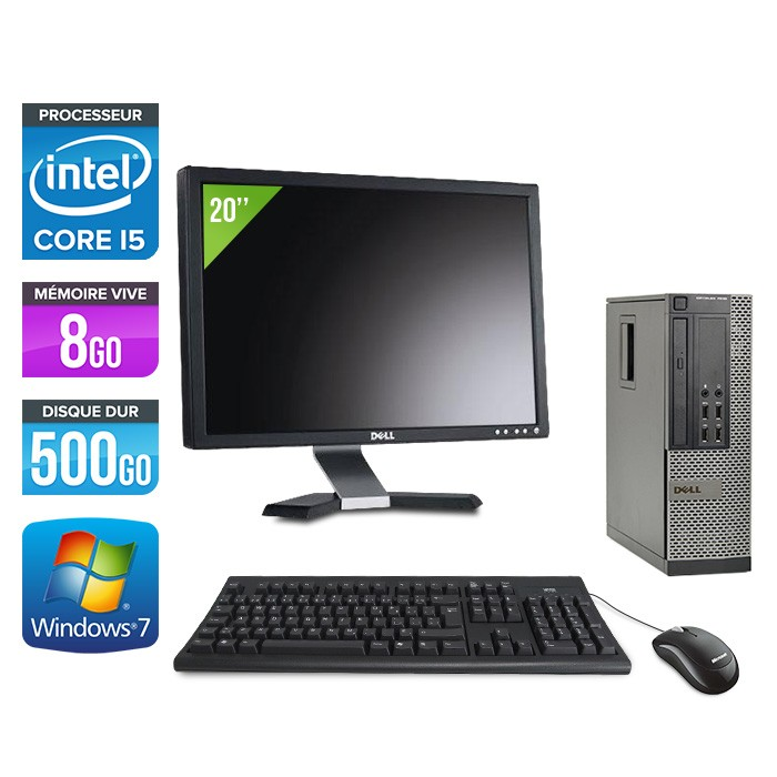 Dell Optiplex 7010 SFF + Ecran 20'' - i5 - 8Go - 500Go - Windows 7