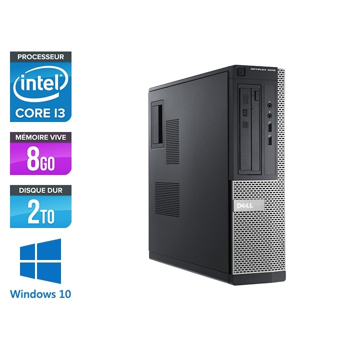 Pc de bureau reconditionné - Dell Optiplex 3010 DT - i3 - 8Go - 2To HDD - Windows 10