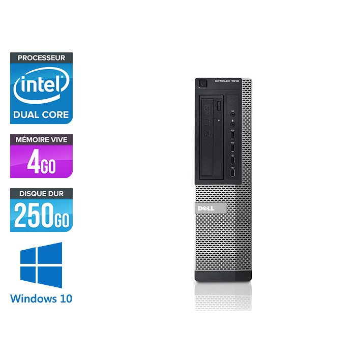 Dell 7010 Desktop - intel G2020 - 4 Go -250 Go - Windows 10