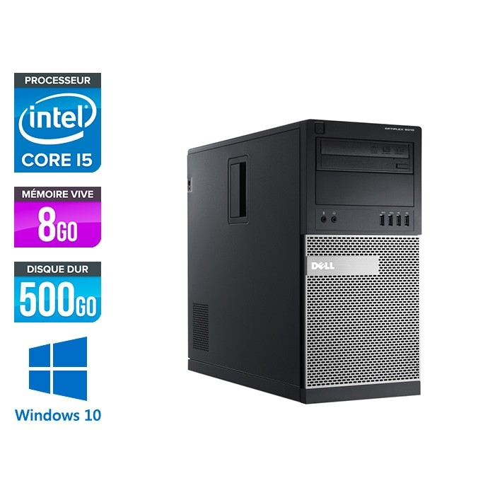 Dell Optiplex 7010 Tour recoonditionné - intel core i5 - 8Go - 500Go - Windows 10