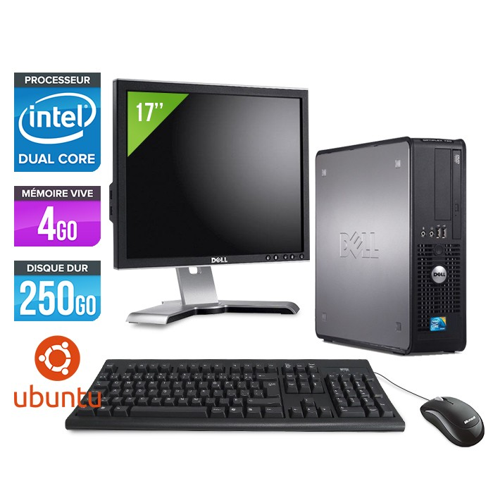 DELL Optiplex 380 SFF - E3300 - 4Go - 250Go - Linux - Ecran 17 pouces