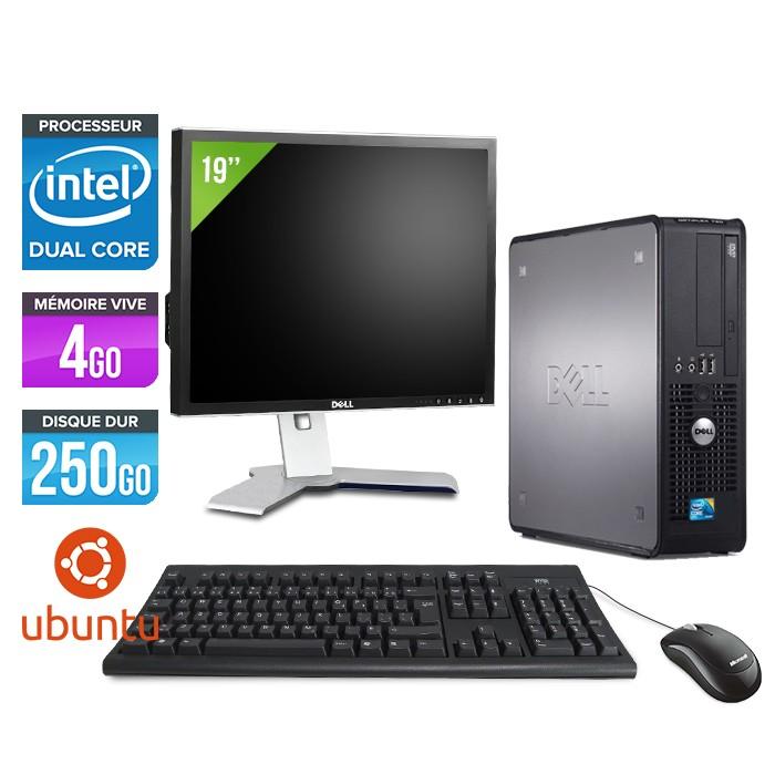 DELL Optiplex 380 SFF - E3300 - 4Go - 250Go - Linux - Ecran 19 pouces