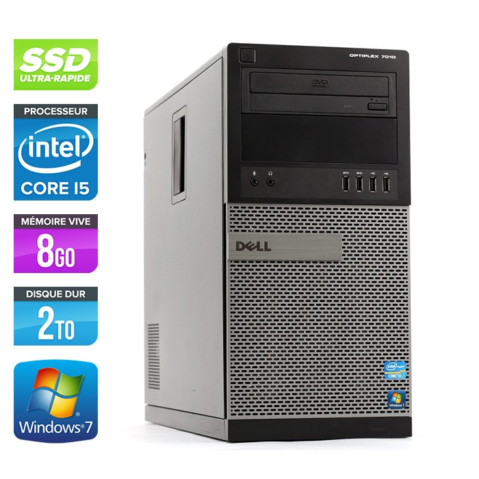 Dell Optiplex 7010 Tour - Core i5 - 8Go - 120Go SSD / 2To HDD