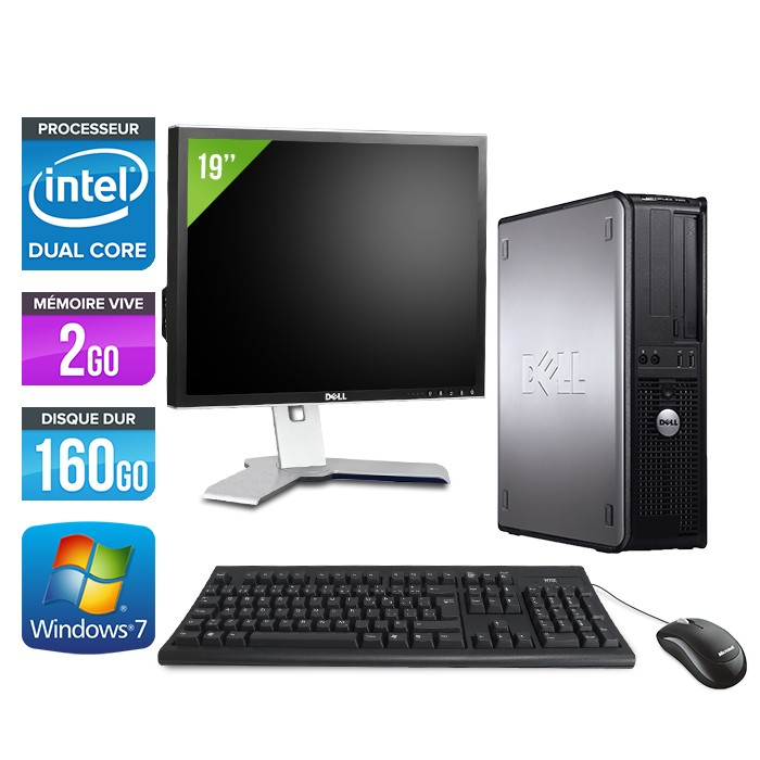 Dell Optiplex 780 - E5300 - 2Go - 160Go + Ecran 19""