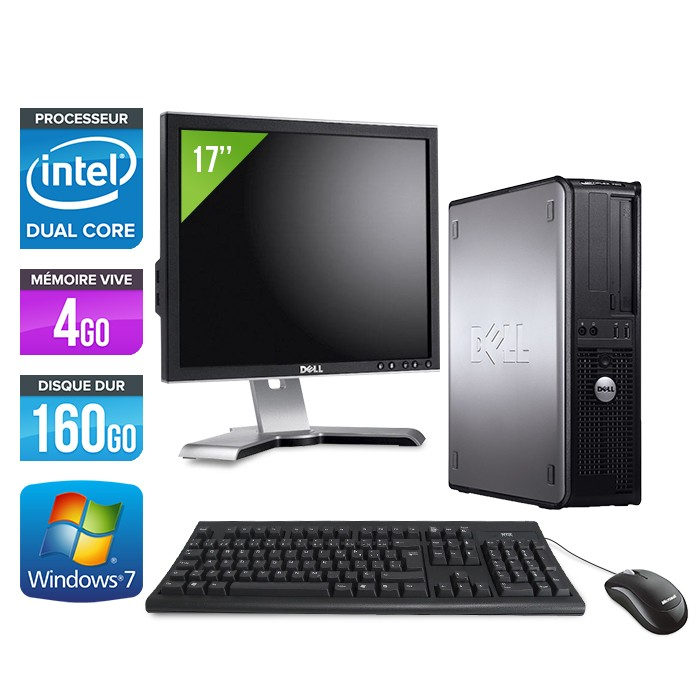 Dell Optiplex 780 Desktop - E5300 - 4Go - 160Go + Ecran 17""