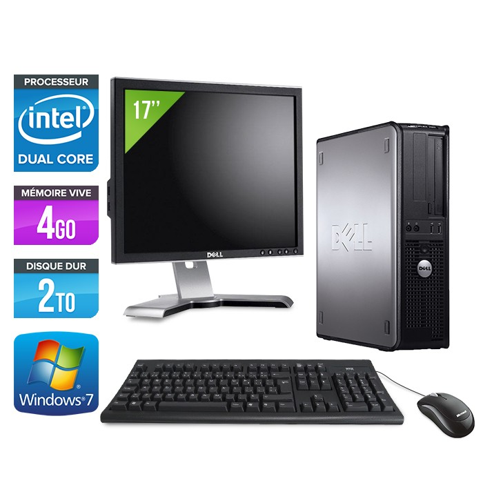 Dell Optiplex 780 Desktop + 17'' - E5300 - 4Go - 2To