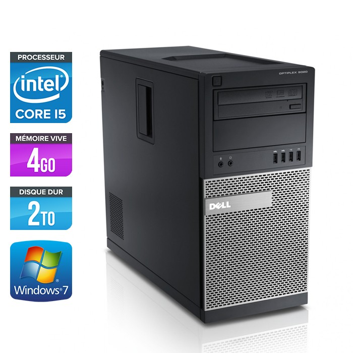 Dell Optiplex 990 Tour - Core i5 - 4Go - 2To - Windows 7 Professionnel