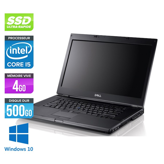 Dell Latitude E6410 - Core i5 520M - 4Go - 500Go SSD - Windows 10