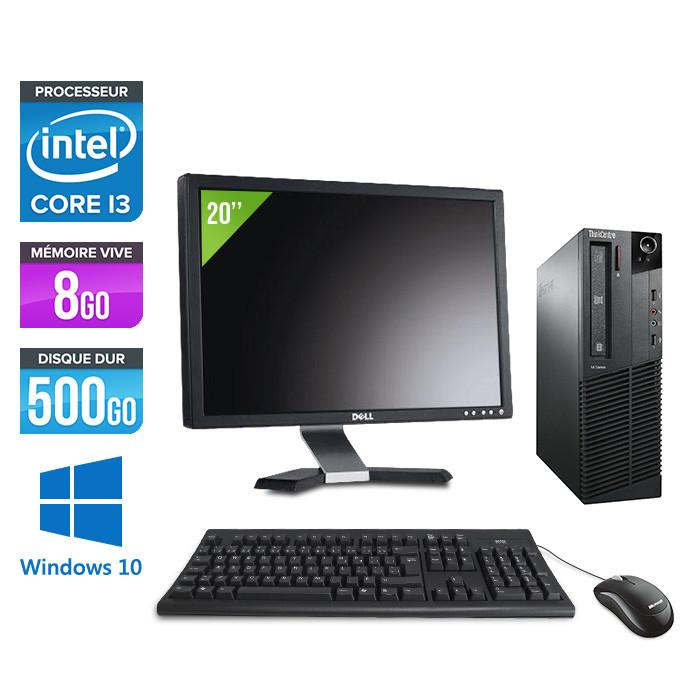 Pack Lenovo ThinkCentre M81 SFF - i3 - 8Go - 500Go - Ecran 20 - Windows 10