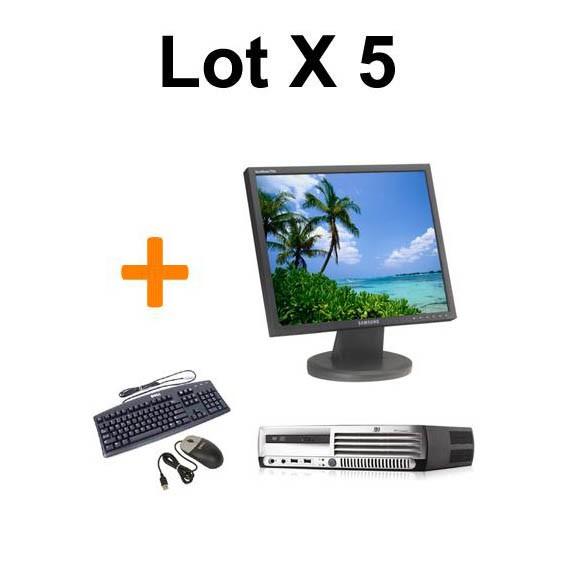 """LOT DE 5 HP DC7700 + Ecran TFT 17"""" + Clavier + Souris"""