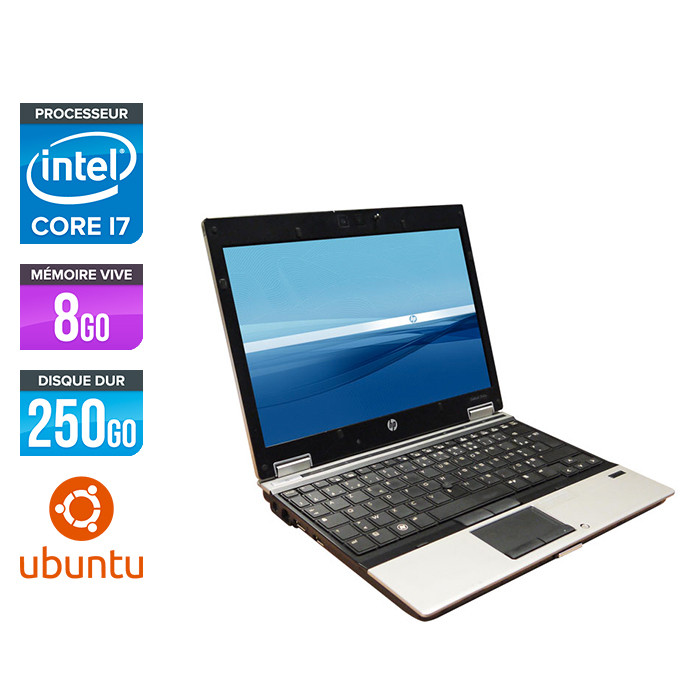 Pc portable reconditionné - HP EliteBook 2540P - Core i7 - 4Go - 250Go HDD - Ubuntu / Linux