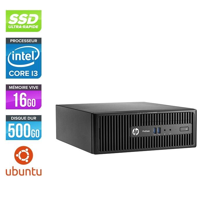 Pc de bureau HP ProDesk 400 G3 SFF reconditionné - i3 - 16Go - 500Go SSD - Linux