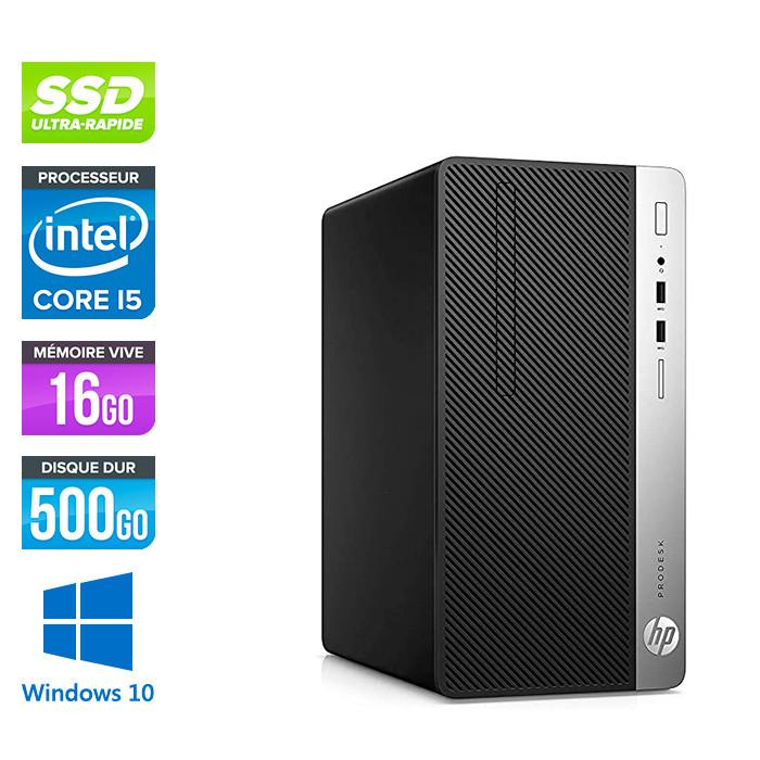 Pc de bureau reconditionné - HP ProDesk 400 G5 Tour - i5 - 16Go - 500Go SSD - W10