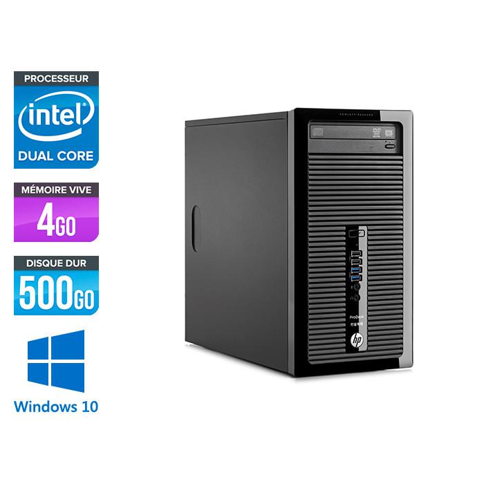 Pc de bureau reconditionné - HP ProDesk 400 G3 Tour - pentium - 4Go - 500Go HDD - W10