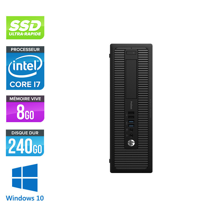 HP ProDesk 600 G2 SFF - i7-6700 - 16Go DDR4 - 240Go SSD - Windows 10