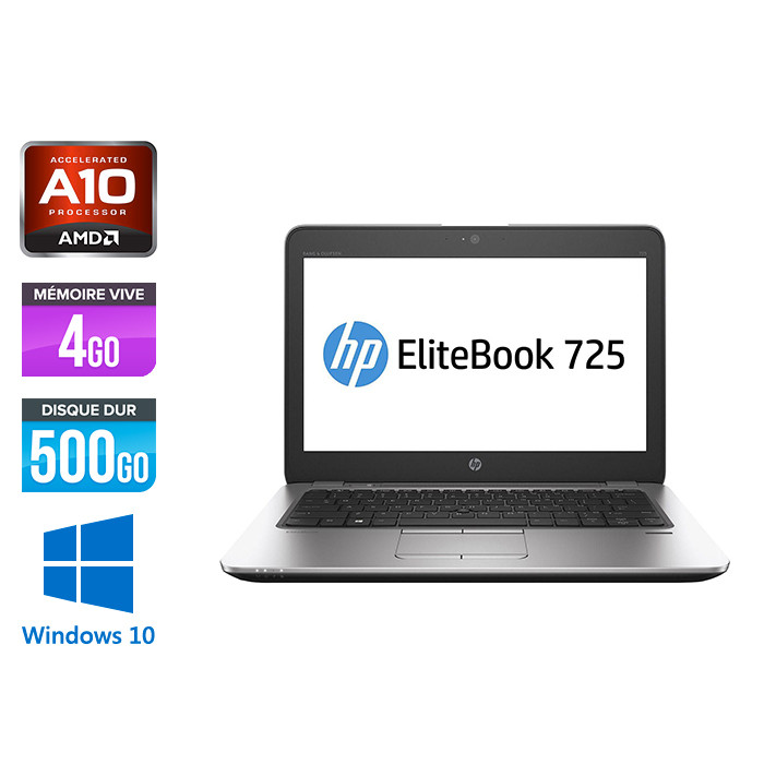 HP Elitebook 725 G3 - A10 - 4Go - HDD 500Go - 12.5'' - Windows 10