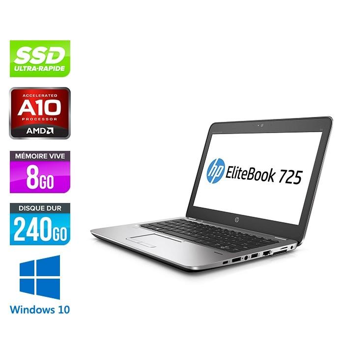 HP Elitebook 725 G3 - A10 - 8Go - SSD 240Go - 12.5'' - Windows 10