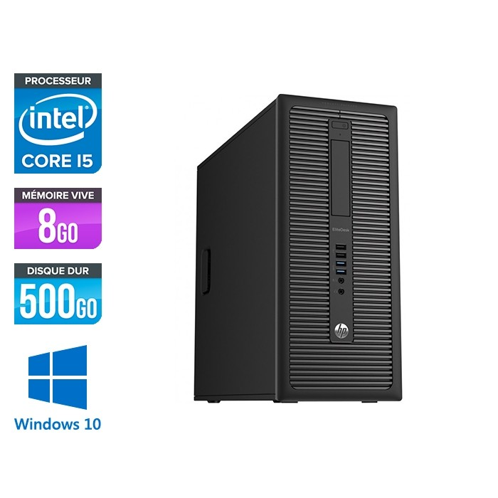 HP EliteDesk 800 G1 Tour - i5 - 8Go - 500Go HDD - Windows 10