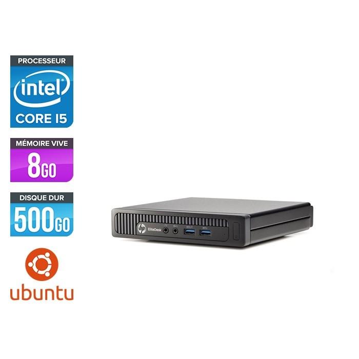 Ordinateur de bureau reconditionné - HP EliteDesk 800 G1 DM - Intel Core i5-4570T - 8Go - 500Go HDD - Ubuntu / Linux