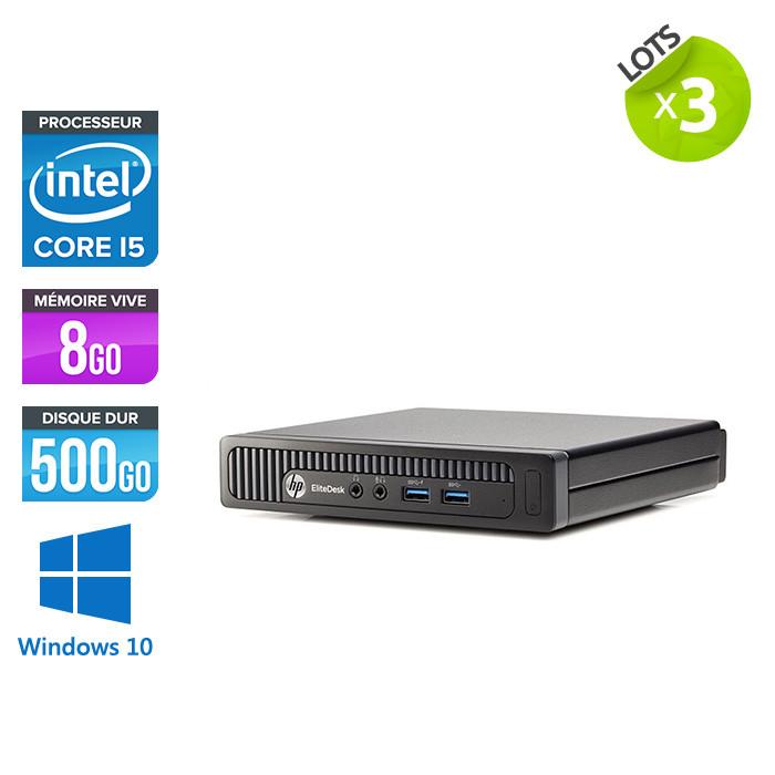 Ordinateur de bureau - HP EliteDesk 800 G1 DMreconditionné - i5 - 8Go - 500Go HDD - Windows 10 - Lot de 3