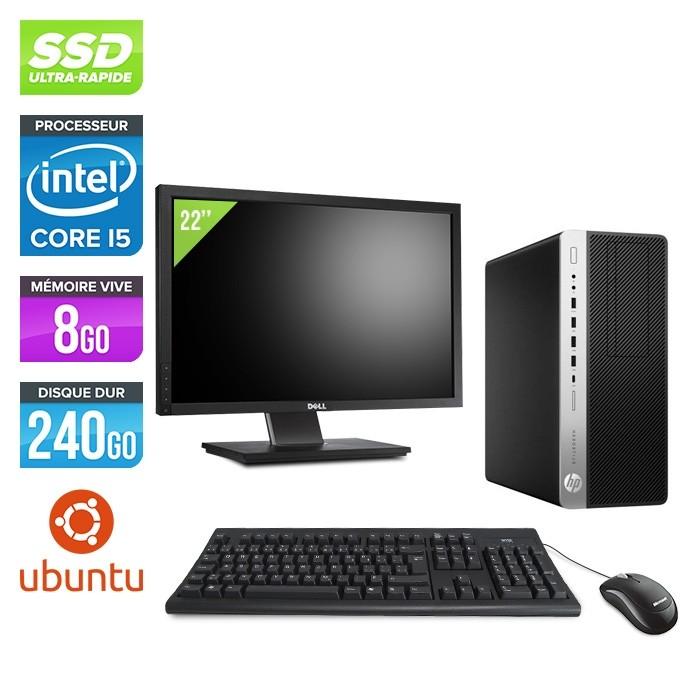 Pc de bureau HP EliteDesk 800 G3 Tour reconditionné - i5 - 8Go DDR4 - 240GO SSD - Ubuntu / Linux + Ecran 22