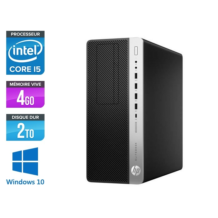 Pc de bureau HP EliteDesk 800 G3 Tour reconditionné - i5 - 4Go DDR4 - 2TO HDD - Windows 10