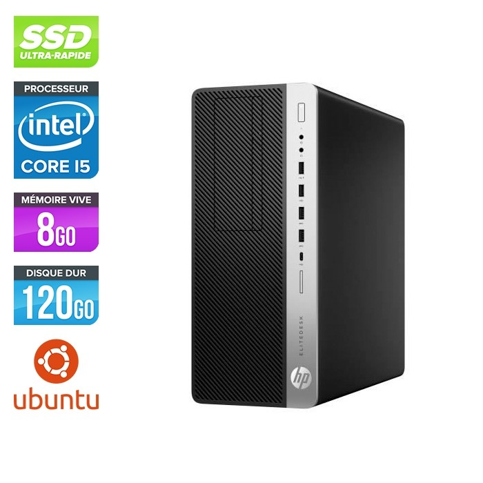 Pc de bureau HP EliteDesk 800 G3 Tour reconditionné - i5 - 8Go DDR4 - 120GO SSD - Ubuntu / Linux