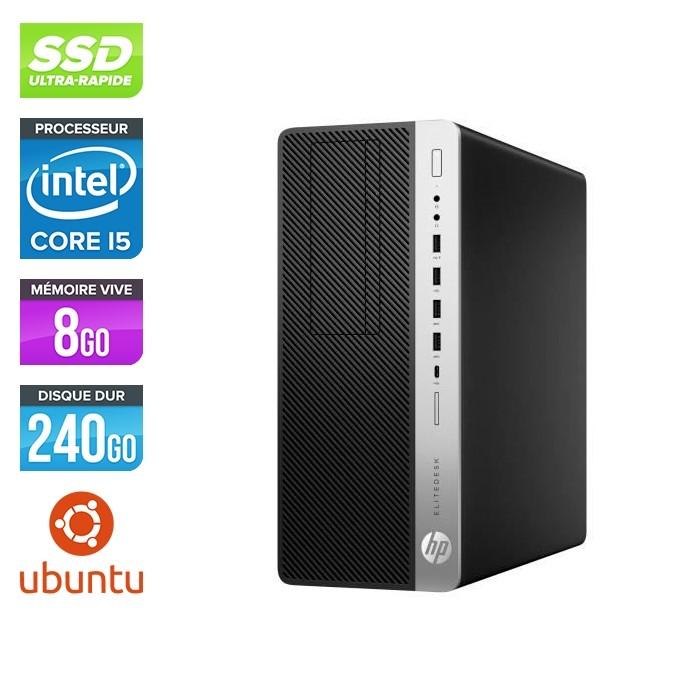 Pc de bureau HP EliteDesk 800 G3 Tour reconditionné - i5 - 8Go DDR4 - 240GO SSD - Ubuntu / Linux