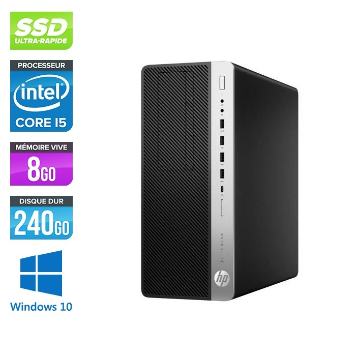 Pc de bureau HP EliteDesk 800 G3 Tour reconditionné - i5 - 8Go DDR4 - 240GO SSD - Windows 10
