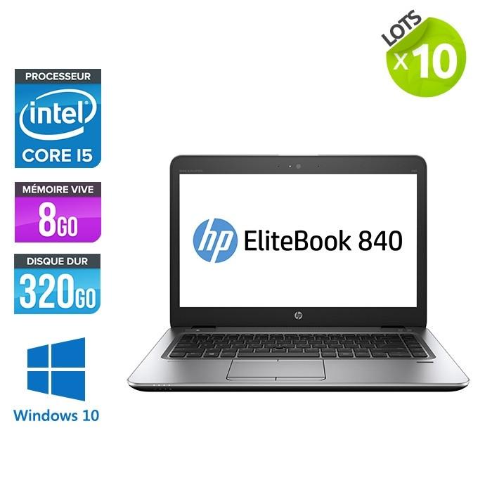 Lot de 10 Pc portables - HP Elitebook 840 G2 - i5 - 8Go RAM- 320Go HDD - 14'' - Windows 10