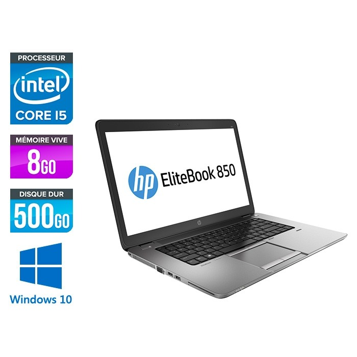 HP Elitebook 850 G1 - i5 5300U - 8 Go - 500Go HDD - HD - Windows 10