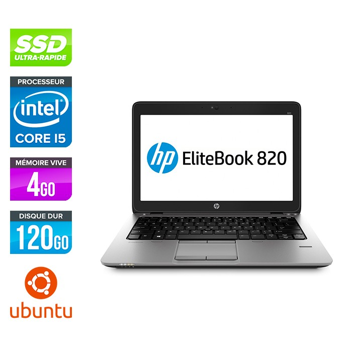 HP Elitebook 820 G2 - i5 5300U - 4Go - 120 Go SSD  - Ubuntu - linux