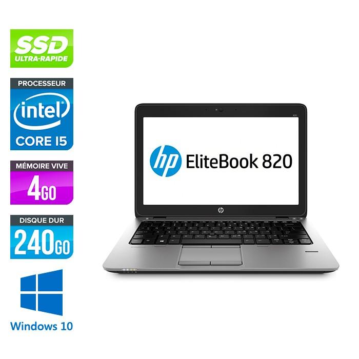 HP Elitebook 820 - i5 5300U - 4Go - 240 Go SSD  - Windows 10