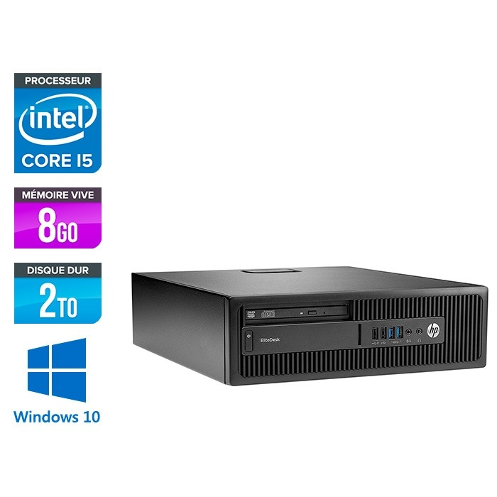 HP EliteDesk 800 G2 SFF - i5 - 8Go DDR4 - 2To HDD - Windows 10
