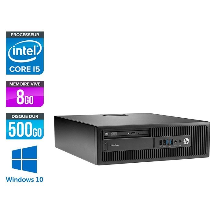 HP EliteDesk 800 G2 SFF - i5 - 8Go DDR4 - 500Go HDD - Windows 10