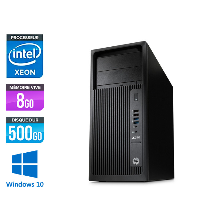 HP Workstation Z240 - E5-1225 V5 - 8Go - 500Go HDD - Quadro K620 - Windows 10