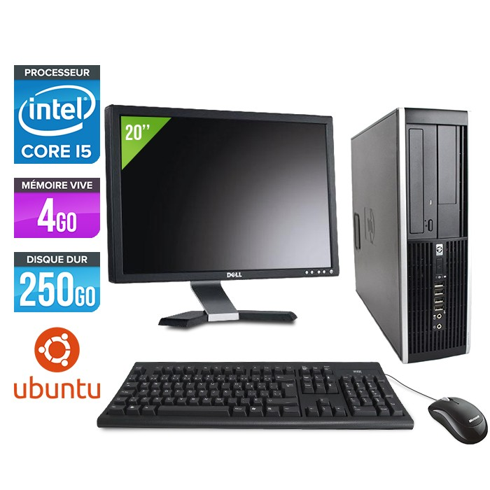 "HP Elite 8200 SFF + Ecran 20"" - Core i5 - 4Go - 250Go - linux"