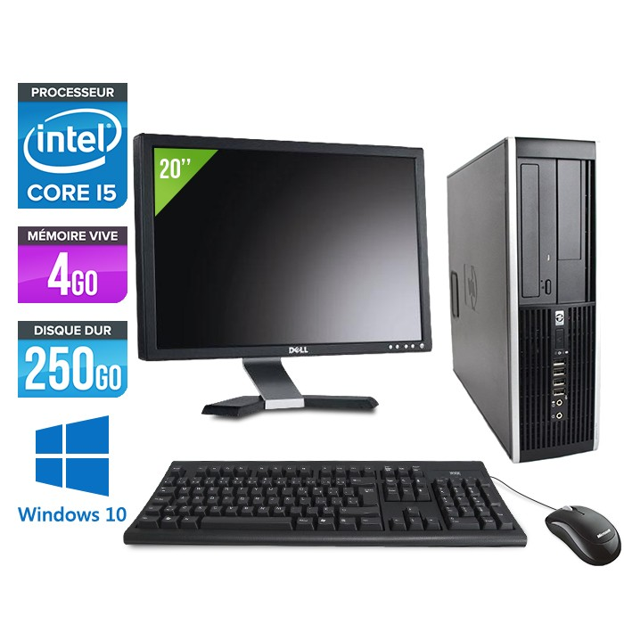 "HP Elite 8200 SFF + Ecran 20"" - Core i5 - 4Go - 250Go -Windows 10"