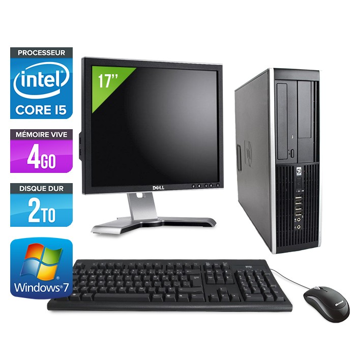 "HP Elite 8200 SFF + Ecran 17"" - Core i5 - 4Go - 2 To -Windows 7"