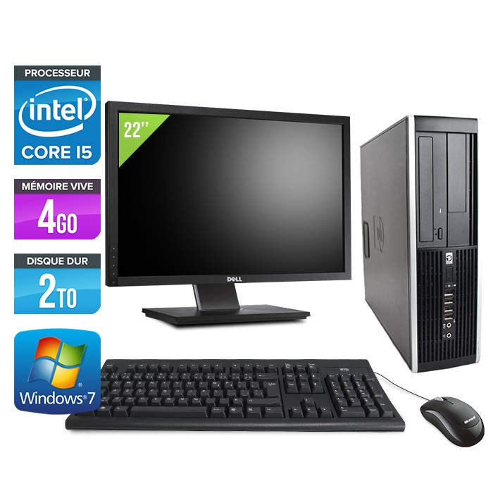 "HP Elite 8200 SFF + Ecran 22"" - Core i5 - 4Go - 2 To -Windows 7"
