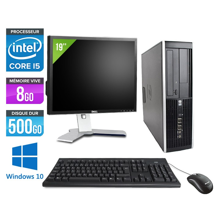 "HP Elite 8200 SFF + Ecran 19"" - Core i5 - 8Go - 500Go -Windows 10"