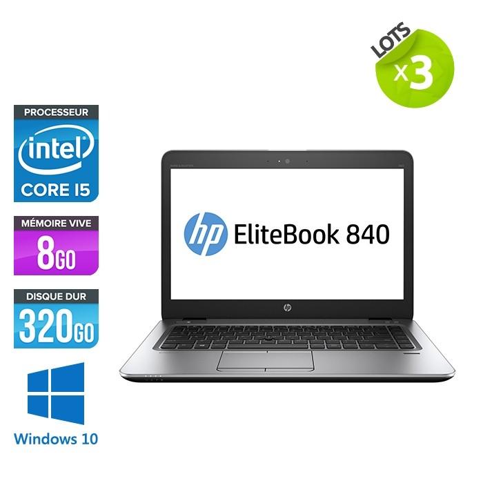 Lot de 3 Pc portables - HP Elitebook 840 G2 - i5 - 8Go RAM- 320Go HDD - 14'' - Windows 10