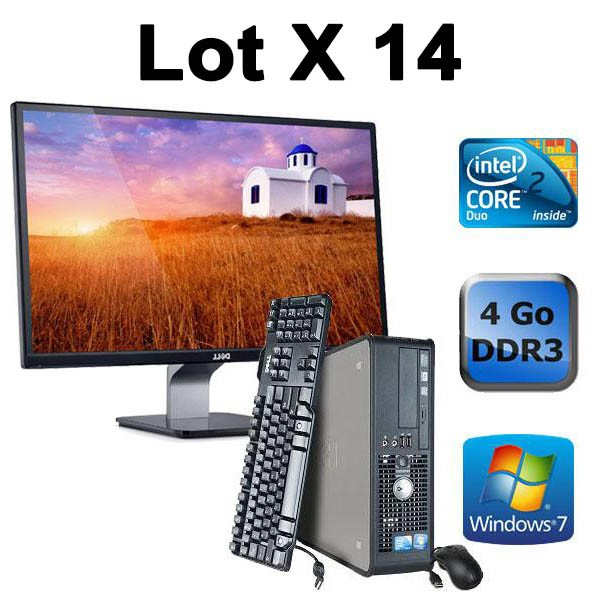Lot de 14 Dell Optiplex 780 - E8500 + Ecrans TFT 22""