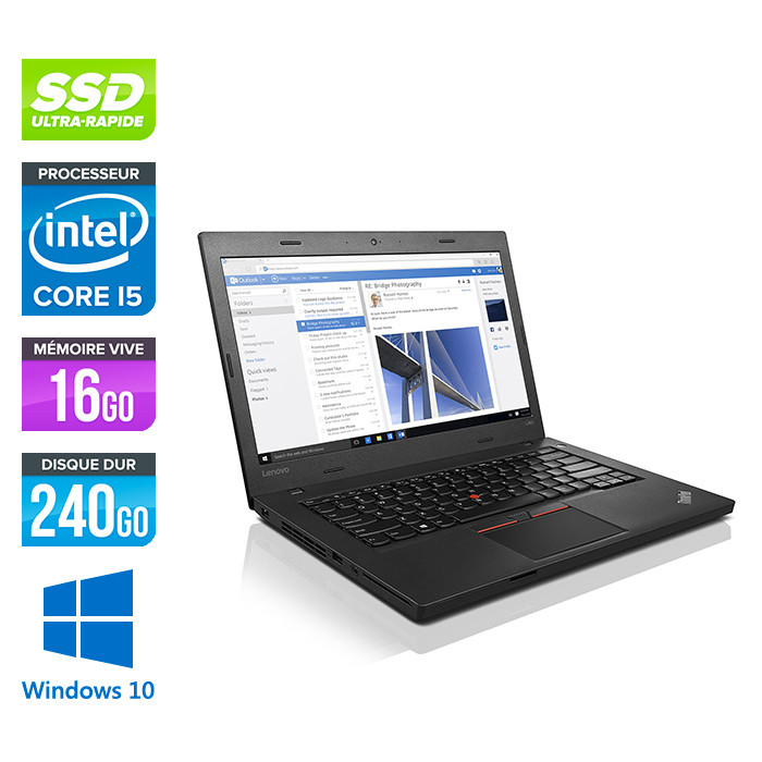 Ordinateur portable reconditionné - Lenovo ThinkPad L460 - i5 - 16Go - SSD 240Go - Windows 10