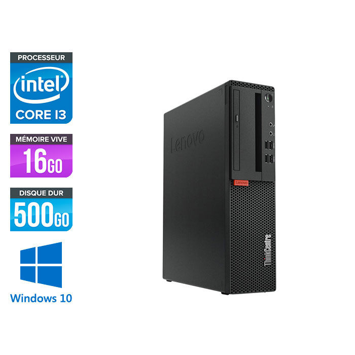 Pc de bureau reconditionne Lenovo ThinkCentre M710s SFF - Intel core i3-7100 - 16 Go RAM DDR4 - 500 Go HDD - Windows 10 Famille