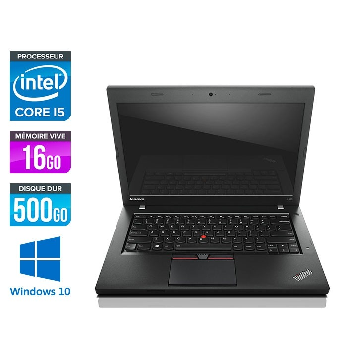 Lenovo ThinkPad L450 - i5 - 16Go - 500Go HDD - webcam - Windows 10