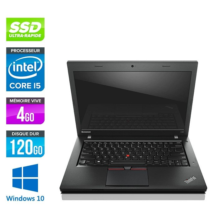 Lenovo ThinkPad L450 - i5 - 4Go - 120Go SSD - webcam - Windows 10