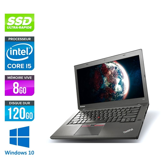 Lenovo ThinkPad T450 - i5 5300U - 8Go - SSD 120Go - Windows 10 professionnel
