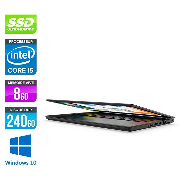 Lenovo ThinkPad T470 - i5 6300U - 8Go - SSD 240Go - Windows 10 professionnel